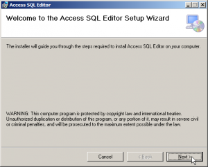 Access SQL Editor Install Screen 1