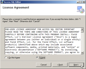 Access SQL Editor Install Screen 2