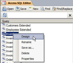 Open a Query for Editing Right-Click